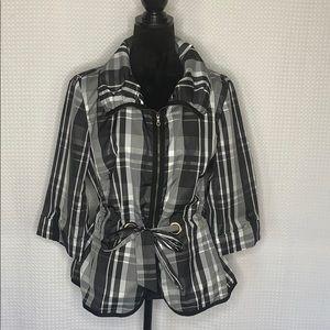 Tribal Plaid Collared Tie at Waist Jacket Sz 14